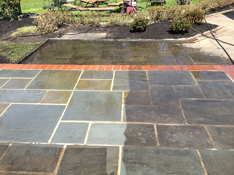 Powerwashingflagstonepatio Gallagher Gutter Window Cleaning. Pennsylvania  Flagstone Patio 218   Best Way To Clean Flagstone